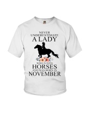 A lady who loves horses and was born in November Youth T-Shirt thumbnail