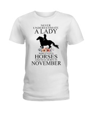 A lady who loves horses and was born in November Ladies T-Shirt thumbnail