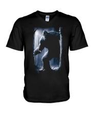 Bigfoot in the dark V-Neck T-Shirt thumbnail