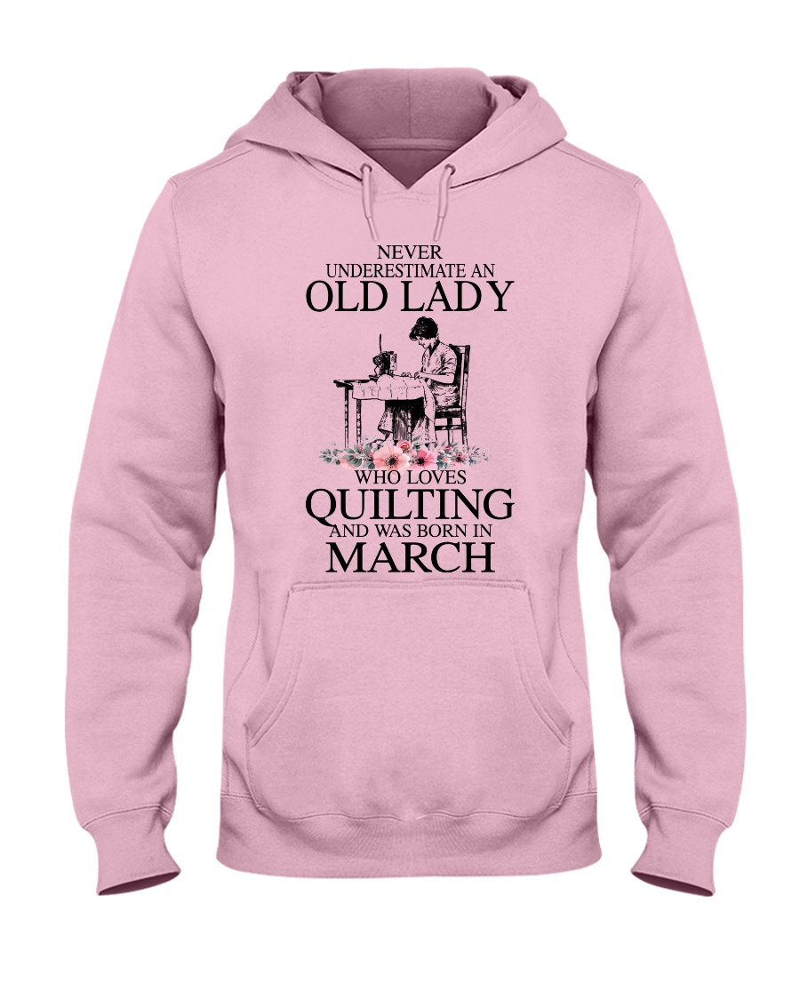 March quilting old lady Hooded Sweatshirt