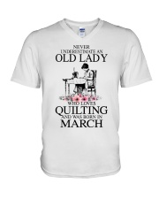March quilting old lady V-Neck T-Shirt thumbnail
