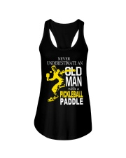 Never Underestimate Old Man with Pickleball Ladies Flowy Tank thumbnail