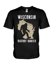 Wisconsin Bigfoot Hunter V-Neck T-Shirt tile