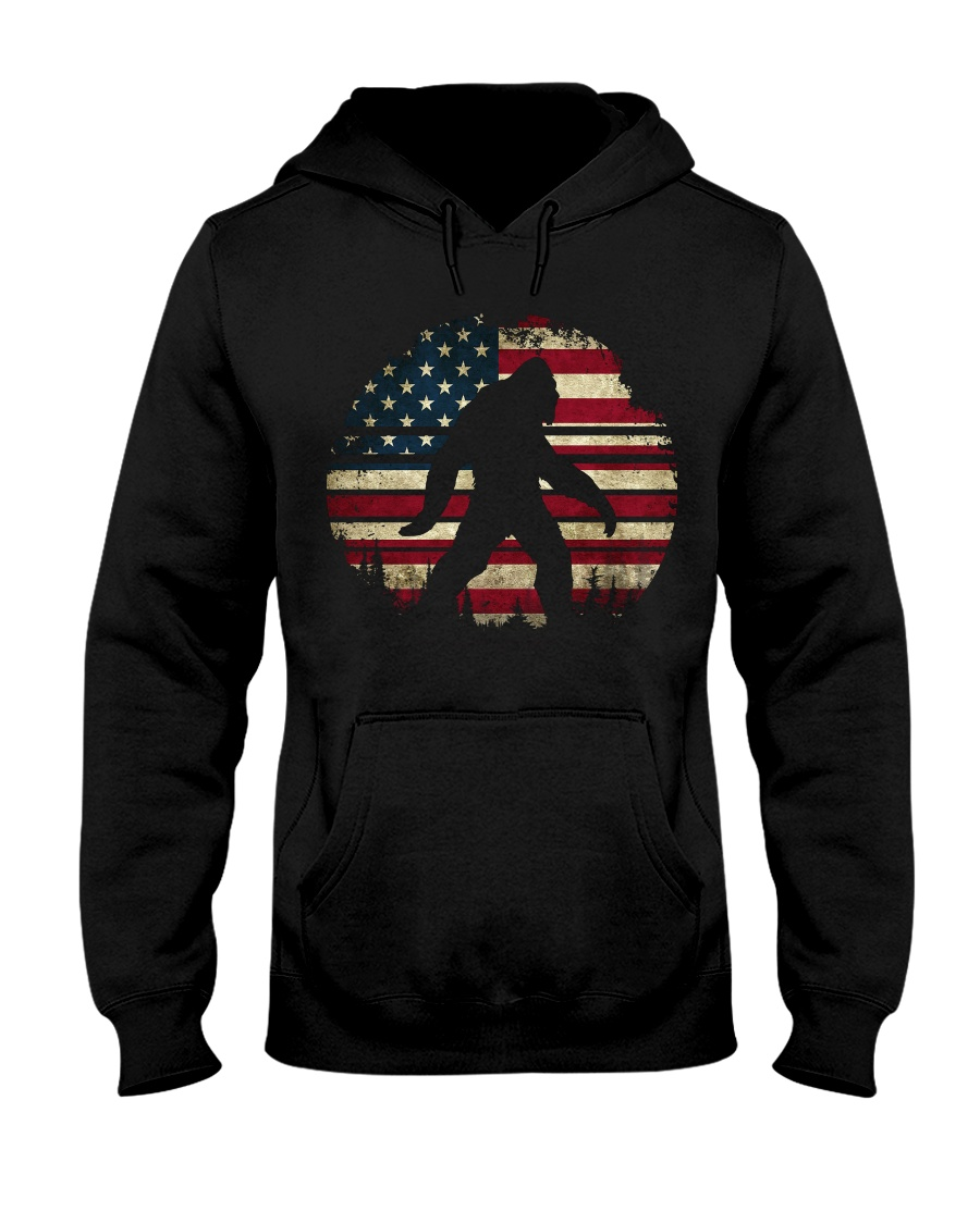 Bigfoot American USA Flag Hooded Sweatshirt