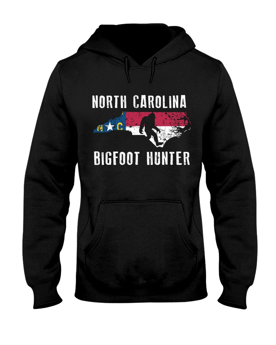North Carolina Bigfoot Hunter Flag Hooded Sweatshirt