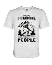 bigfoot distancing hate people V-Neck T-Shirt thumbnail