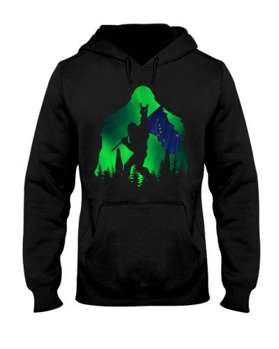 Bigfoot Alaska flag green night