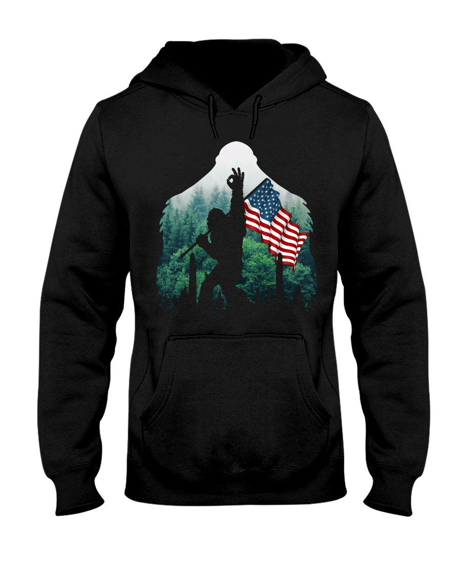 Bigfoot ok sign USA flag in the forest Hooded Sweatshirt
