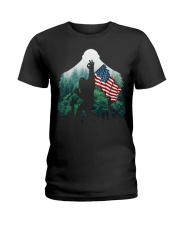 Bigfoot ok sign USA flag in the forest Ladies T-Shirt thumbnail