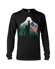 Bigfoot ok sign USA flag in the forest Long Sleeve Tee thumbnail