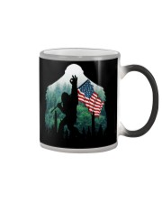 Bigfoot ok sign USA flag in the forest Color Changing Mug thumbnail