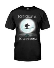 Skiing under the moon Classic T-Shirt thumbnail