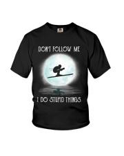 Skiing under the moon Youth T-Shirt thumbnail
