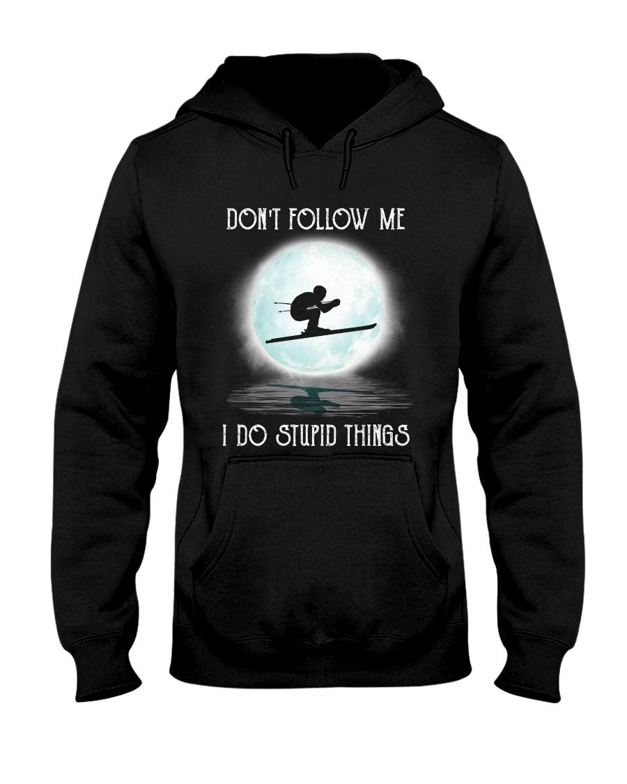 Skiing under the moon Hooded Sweatshirt