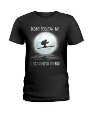 Skiing under the moon Ladies T-Shirt thumbnail
