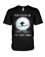 Skiing under the moon V-Neck T-Shirt thumbnail