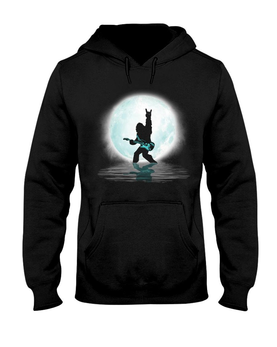 Bigfoot guitar rock and roll under the moon Hooded Sweatshirt