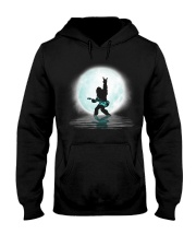 Bigfoot guitar rock and roll under the moon Hooded Sweatshirt front
