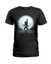 Bigfoot guitar rock and roll under the moon Ladies T-Shirt thumbnail