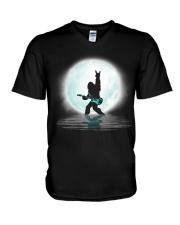 Bigfoot guitar rock and roll under the moon V-Neck T-Shirt thumbnail