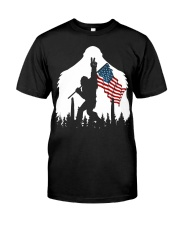 Bigfoot peace sign USA flag Classic T-Shirt thumbnail