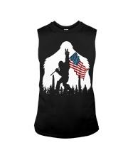 Bigfoot peace sign USA flag Sleeveless Tee thumbnail