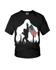 Bigfoot peace sign USA flag Youth T-Shirt thumbnail