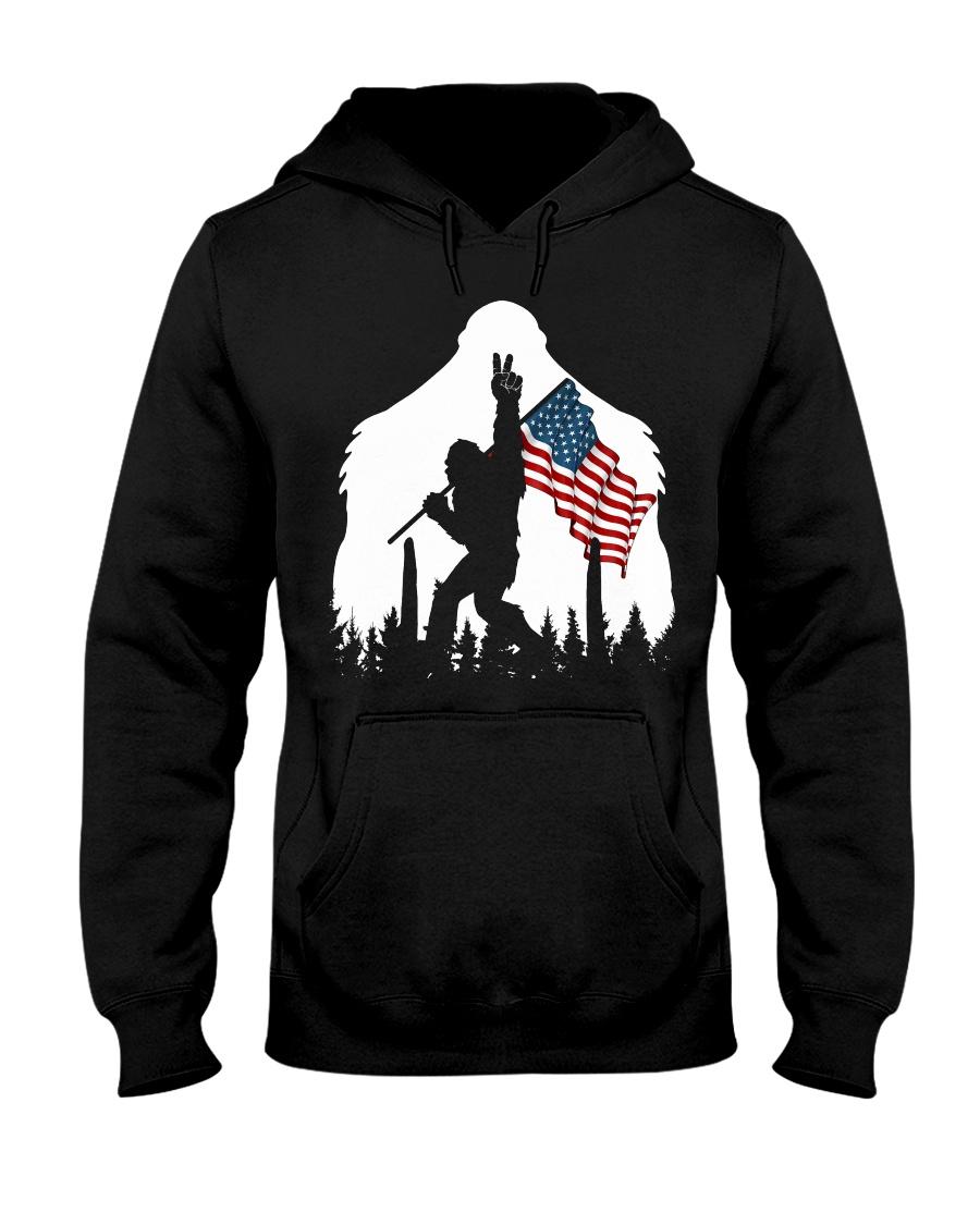 Bigfoot peace sign USA flag Hooded Sweatshirt