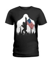 Bigfoot peace sign USA flag Ladies T-Shirt thumbnail