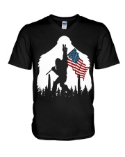 Bigfoot peace sign USA flag V-Neck T-Shirt thumbnail