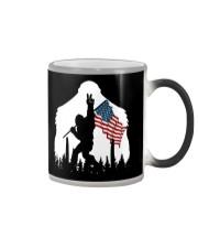 Bigfoot peace sign USA flag Color Changing Mug thumbnail