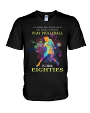 Pickleball - creat equal eighties  V-Neck T-Shirt thumbnail