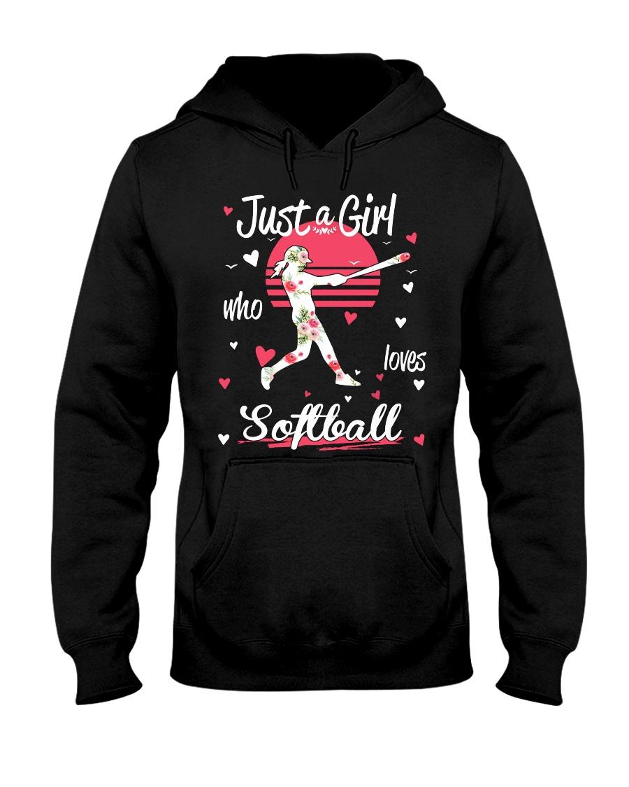 Just a girl who loves softball Hooded Sweatshirt
