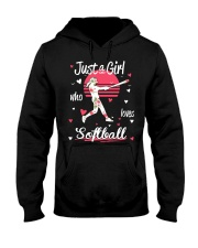 Just a girl who loves softball Hooded Sweatshirt front