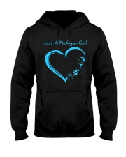 Just A Michigan Girl Blue Hooded Sweatshirt front