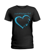 Just A Michigan Girl Blue Ladies T-Shirt thumbnail