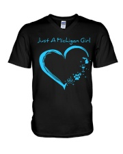 Just A Michigan Girl Blue V-Neck T-Shirt thumbnail