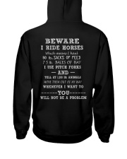 Beware I ride horses Hooded Sweatshirt back