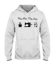 sewing coffe and wine plan Hooded Sweatshirt front