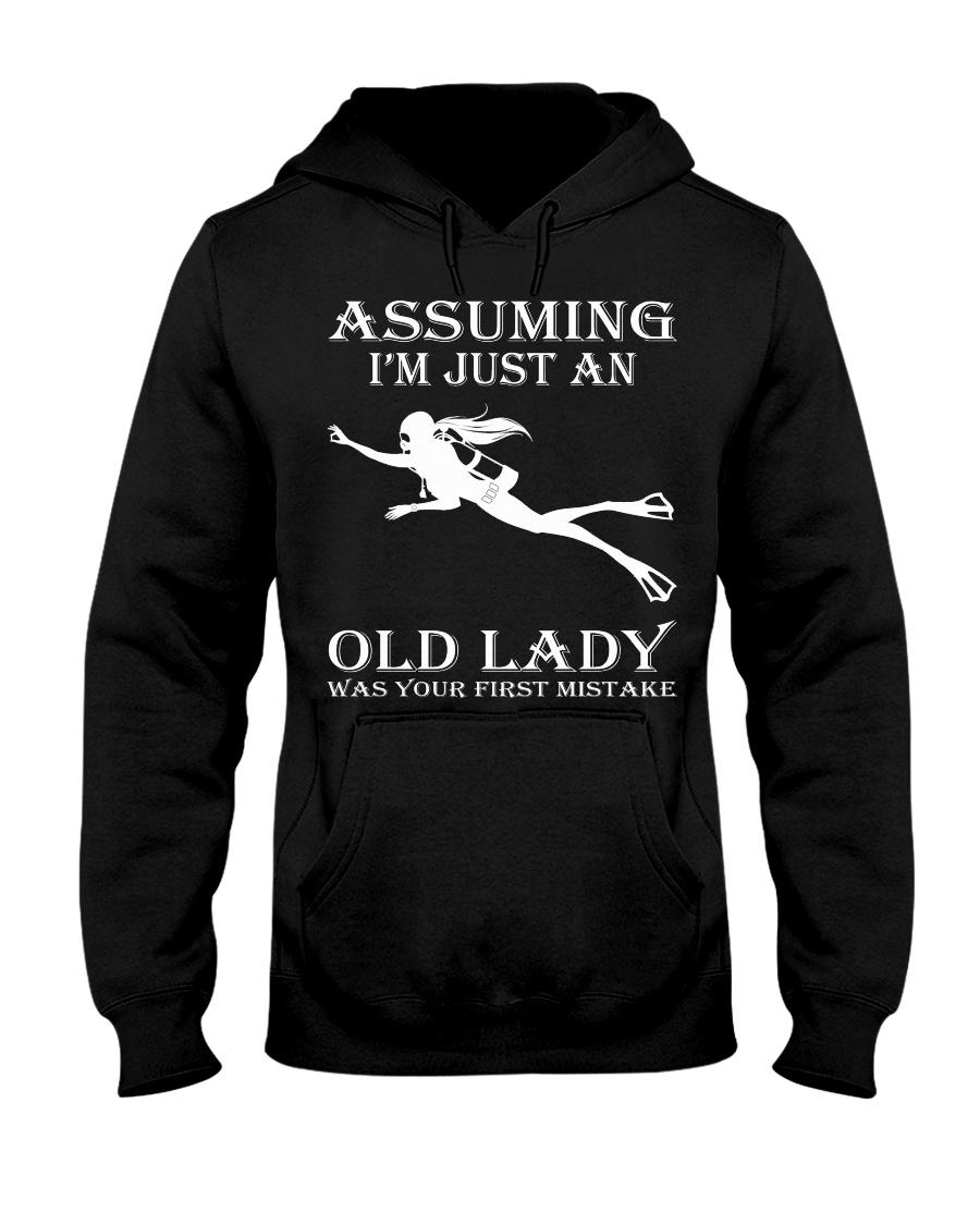 scuba diving assuming Hooded Sweatshirt