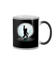 Funny bigfoot hand gesture - two side Color Changing Mug tile