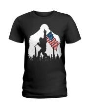 Bigfoot No1 USA flag Ladies T-Shirt thumbnail
