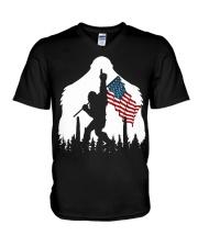 Bigfoot No1 USA flag V-Neck T-Shirt thumbnail