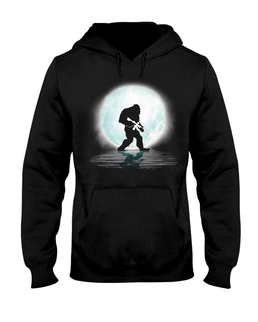 Bigfoot Gun under the moon Hooded Sweatshirt