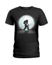 Bigfoot Gun under the moon Ladies T-Shirt thumbnail