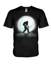 Bigfoot Gun under the moon V-Neck T-Shirt thumbnail