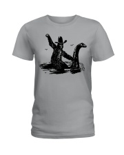Bigfoot Riding Loch Ness Monster Ladies T-Shirt tile