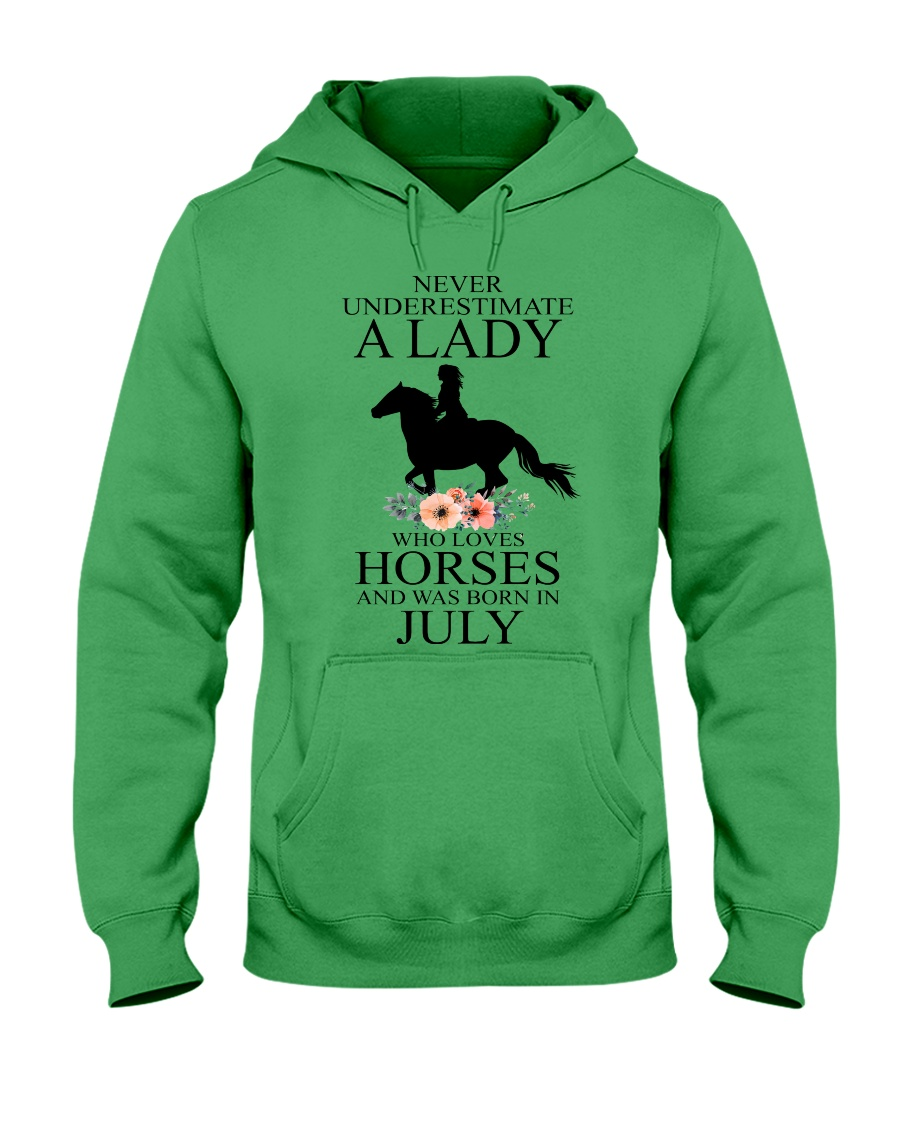 A lady who loves horses and was born in July Hooded Sweatshirt
