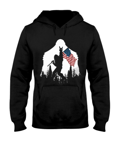Bigfoot Rock and roll USA flag in the forest
