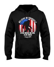 Believe In Yourself Sasquatch USA Flag Hooded Sweatshirt front